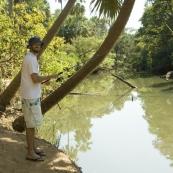 Sam fishing in Waterhous River