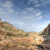 Walking between Katherine Gorge\'s first and second gorges