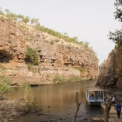Walking between Katherine Gorge's third and second  gorges