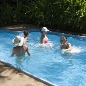 Lisa teaching an water aerobics class in the Hudson\'s pool