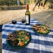 Lamb chops and salad for dinner at Victora River in Gregory National Park