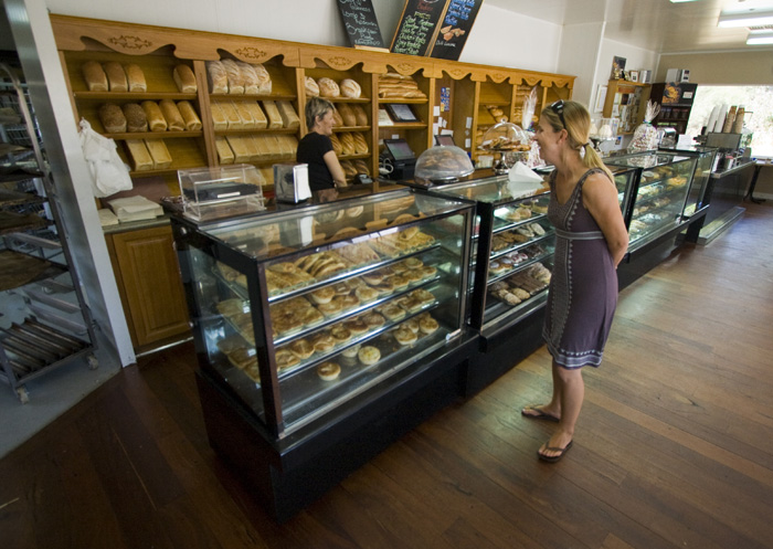 Lisa perusing the selection at the Bindoon Bakehouse
