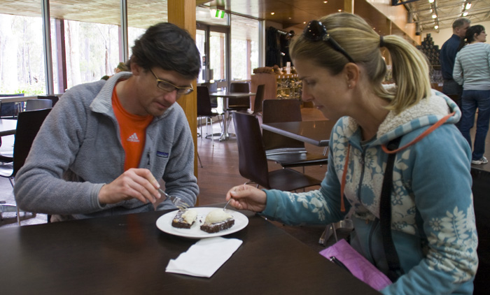 Sergey and Lisa tuck into a brownie with icecream at the Margaret River Chocolate Company