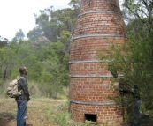 Sam at a historical chimney in the bush near the town of Margaret River