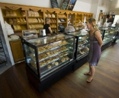 Lisa perusing the selection at the Bindoon Bakehouse