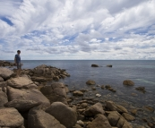 Sergey on the rocks at Bunker Bay