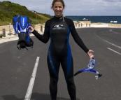 Lisa finishing a snorkeling trip out to Mushroom Rock at Hamelin Bay
