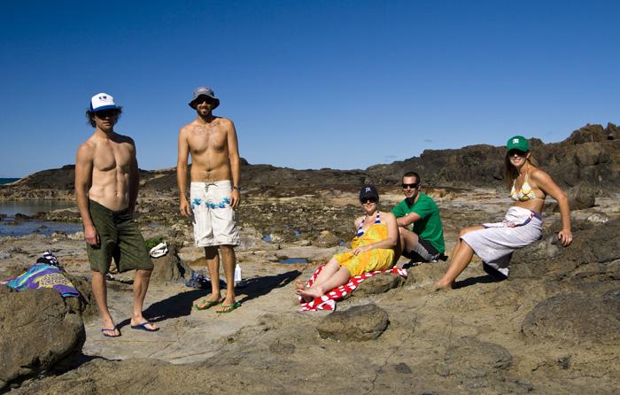 Chris, Sam, Sarah, James and Lisa at Champagne Pools