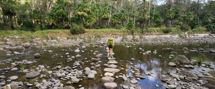 Lisa crossing Carnarvon Creek