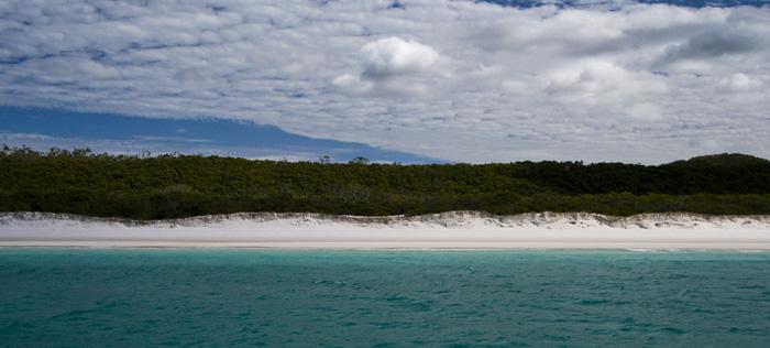 Brilliant white sand of Whitehaven Beach on Whitsunday Island