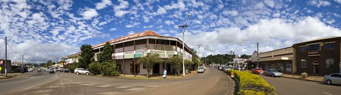 Panoramic of the main street in Malanda