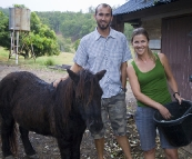 Branell Homestead: Sam and Lisa with Angel the miniature pony