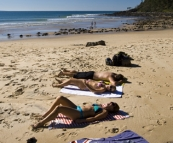 Chris, Cheryl and Lisa enjoying the sunshine at Tea Tree Bay in Noosa National Park