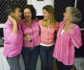 Jenni, Ali, Lisa and Gail all in pink