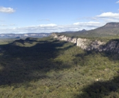 Panoramic of Carnarvon Gorge\'s entrance from Boolimba Bluff
