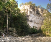 Chris negotiating the rocky creek bed of Carnarvon Gorge