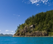 Rounding the northern end of Whitsunday Island with Border Island in the distance