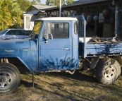 A cool old FJ at one of the beach shacks in Toomulla