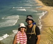 Lisa and San in front of Sunshine Beach