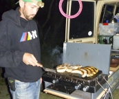 Sam manning the BBQ at Wongai camping area