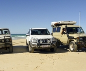 The three Toyotas at Sandy Cape