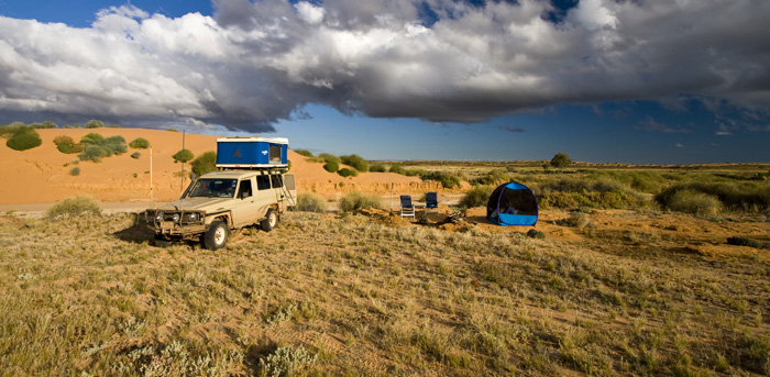 Camped in the dunes in the Strzelecki Desert