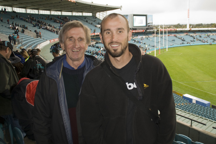 Sam and John at the Port Power and Richmond Tigers AFL game
