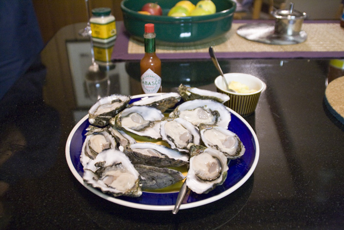 Oysters at John\'s house for dinner