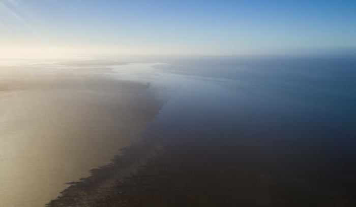 Freshwater and saltwater meet in Lake Eyre