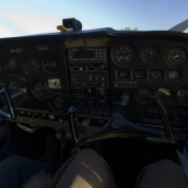 Sam\'s view of the interior of the plane