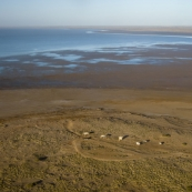 Halligan\'s Bay viewing station on the western shore of Lake Eyre