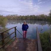 Lisa about to take a morning dip at Dalhousie Springs
