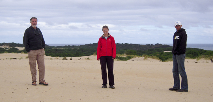 Greg, Lisa and Sam at the Henty Dunes near Strahan