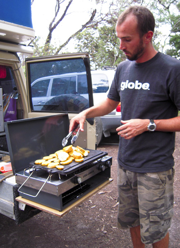 Sam cooking up a storm in Coles Bay