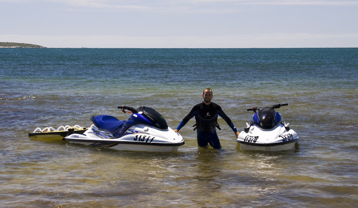 Sam with the jetskis in Quarantine Bay