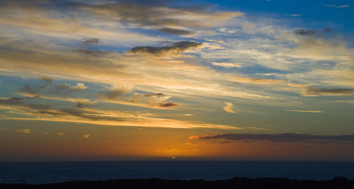 Sunset from the Jordans\' house on King Island