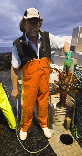 Rob displaying a three to four kilogram crayfish