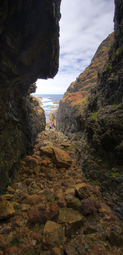 The entrance to the cave at Seal Rocks