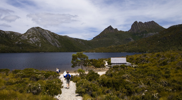 The Youngs and Lisa hiking around Dove Lake with Cradle Mountain in the distance
