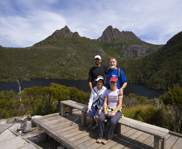 Sam, Greg, Carol and Lisa in fron of Cradle Mountain