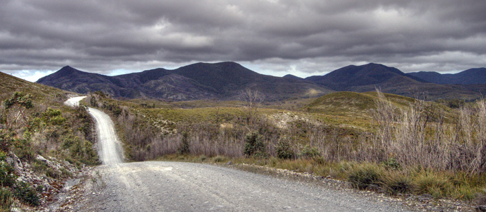 The road through the Arthur Pieman Conservation Area