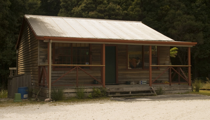One of the cottages run by the Tarkine Hotel in Corinna