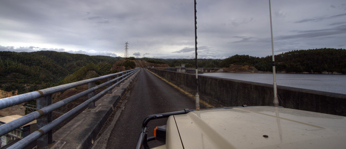The Tank driving across the massive Reece Dam