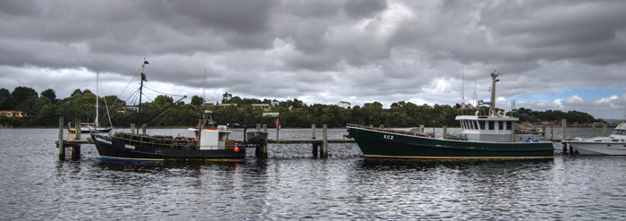 Fishing boats in Strahan