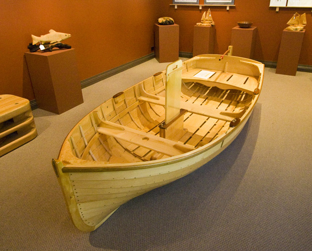 A beautiful Huon Pine boat in one of the galleries in Strahan