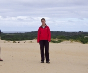 Greg, Lisa and Sam at the Henty Dunes near Strahan