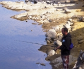 Sam fishing on Lake King William
