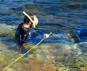 Sam spearfishing in Coles Bay