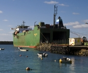 The freight ship delivering supplied to King Island in Grassy
