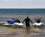 Sam with the jetskis in Quarantine Bay